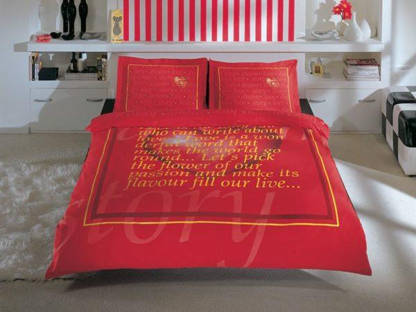 Купить Постельное белье TAC сатин - Valentine kirmizi 200x220 (sv-2000008462587) Красный