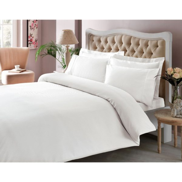 Купить Постельное белье TAC Premium Basic - Stripe beyaz 200x220 (sv-2000022086226) Белый