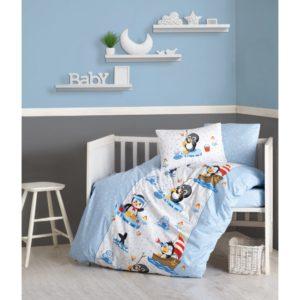 Детское постельное белье Cotton Box Penguen Mavi 100x150 (CB08007796) Голубой фото