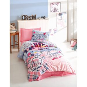 Подростковое постельное белье Cotton Box Superstar Pembe 160x220 (CB08007795) Розовый фото