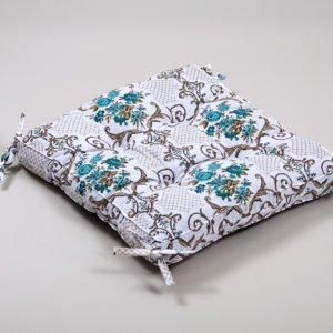 Подушка на стул Lotus Queen с завязками 45x45 (sv-2000022172547) Бирюзовый фото