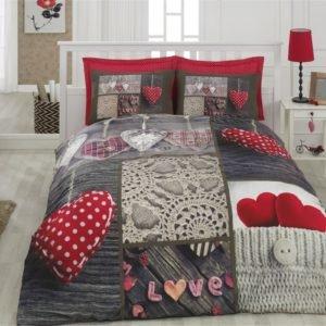 Постельное белье 3D Cotton Box Nina Kirmizi 200x220 (CB010077325) Красный|Серый фото