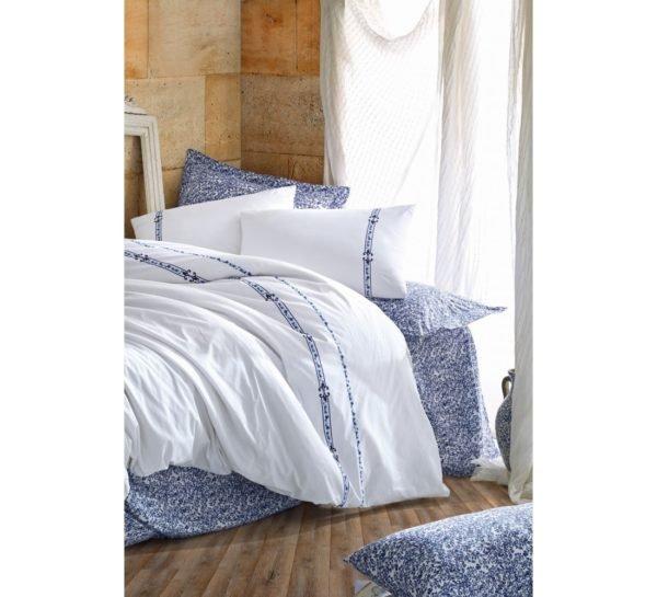 Постельное белье Cotton Box Delmor Lacivert 200x220 (CB010077519) Белый|Синий фото