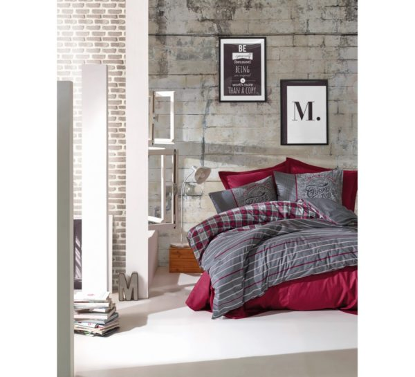 Постельное белье Cotton Box Jonas Bordo 200x220 (CB010077499) Серый|Бордовый фото