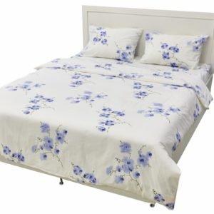 Постельное белье Rigel Ранфорс Цветы Синие 200×220