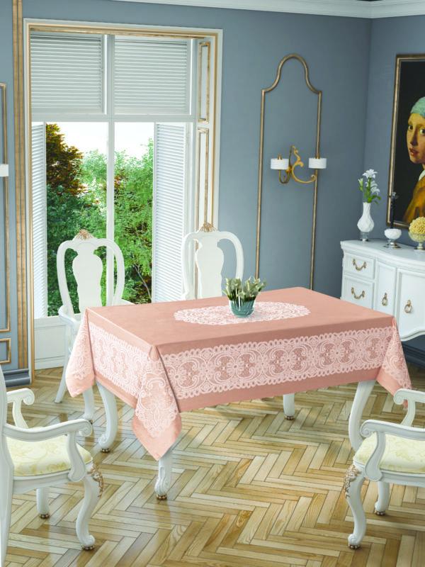 Скатерть Tropik Home Priencly Cappucino 5698-3 150x220 (CB14003349) Розовый фото