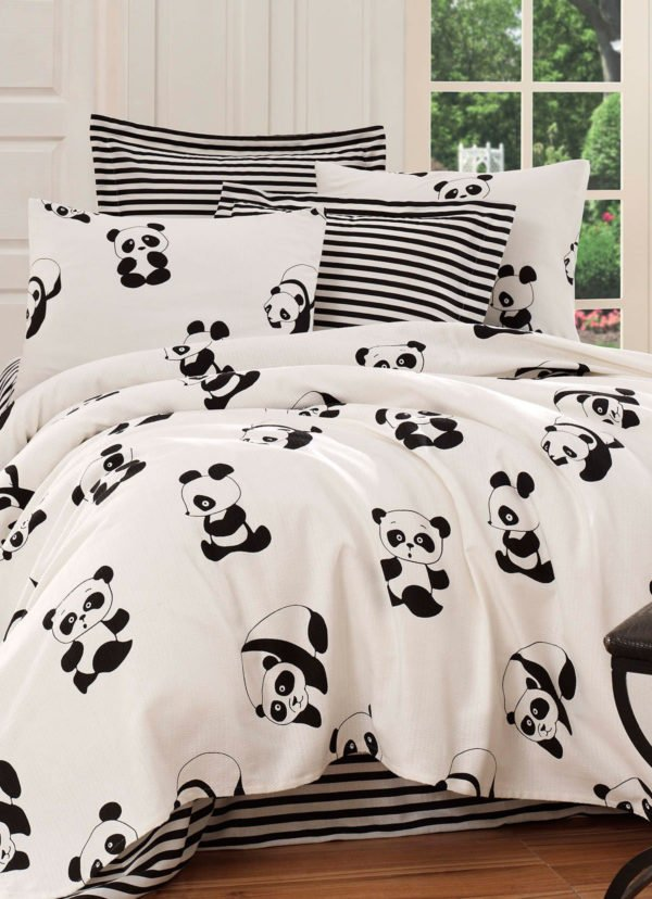 Покрывало пике Eponj Home B&W Panda siyah-beyaz