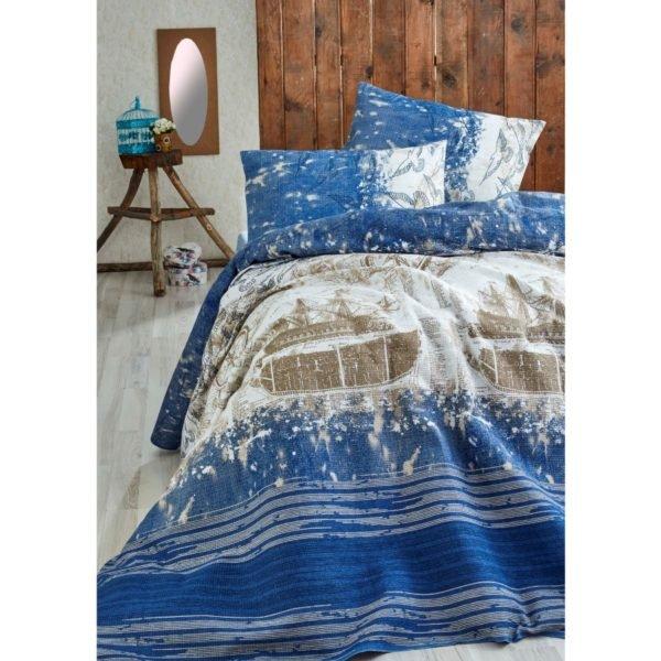 Покрывало пике Eponj Home Pusula k.mavi 200x235 (sv-2000008487580) Синий фото