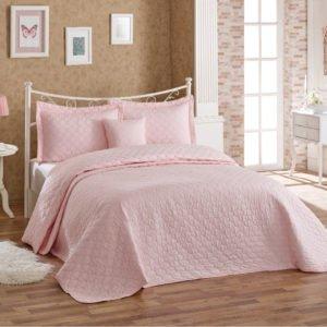 Покрывало с наволочками Halley Block розовый 250×260
