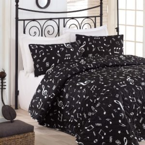 Покрывало Eponj Home B&W Melodi siyah 160x220 (sv-2000022170376) Черный фото