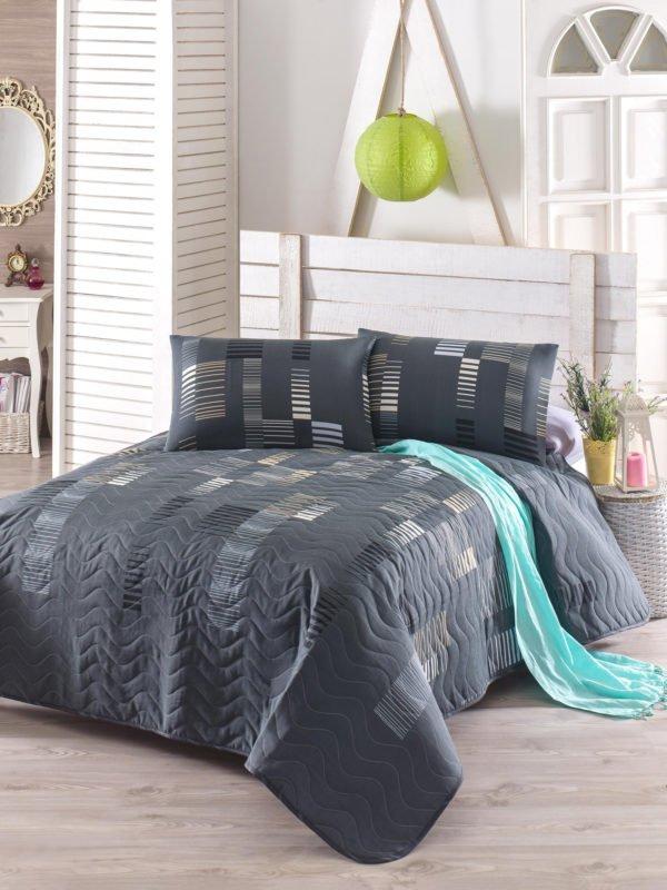 Покрывало Eponj Home Trace antrasit 200x220 (sv-2000022078207) Серый|Черный фото