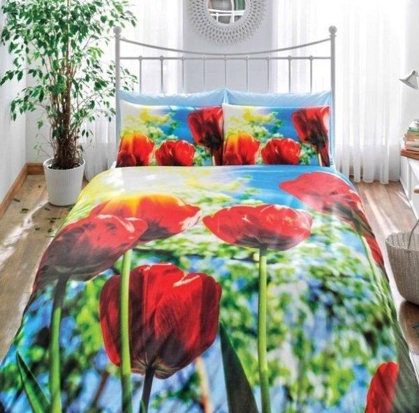 Постельное белье TAC сатин 3D Tulip 200x220 (sv-8696048503324) Зеленый Красный фото