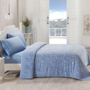 Постельное белье TAC с махровой простынью Lyon mavi 220×240