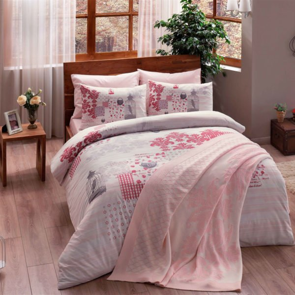 Постельное белье TAC с пледом Triko Armina pembe v2 200x220 (sv-8696048477588) Розовый фото