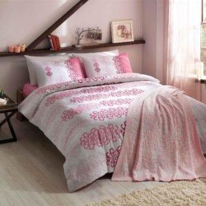 Постельное белье TAC с пледом Triko Despina pembe v2 200x220 (sv-8696048477571) Розовый фото