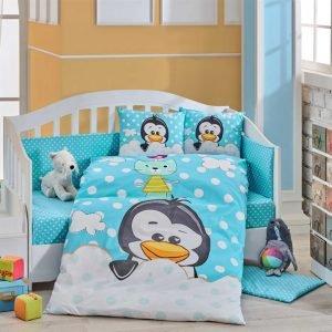 Детское Постельное Белье Hobby Penguin Голубой 100×150