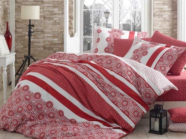 Постельное Белье Hobby Exclusive Sateen Lisa Красный 160×220 (2 шт)