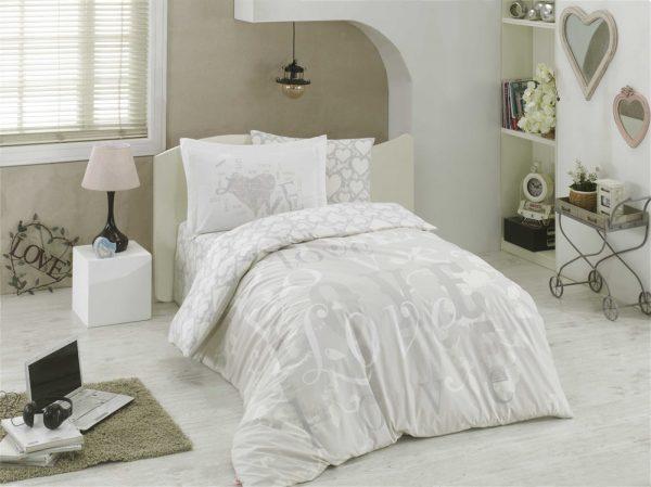 купить Постельное Белье Hobby Poplin Love Серый (8698499130654)