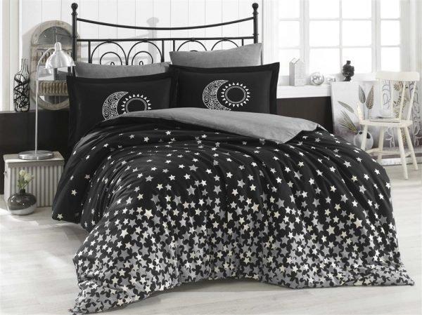 купить Постельное Белье Hobby Poplin Stars Черный (8698499131668)