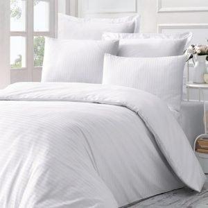 Постельное Белье Victoria Stripe Sateen Line Белый 200×220
