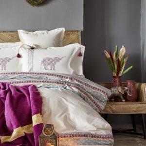 Постельное белье с пледом Karaca Home Espilo bordo 2018-1 200×220