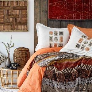 Постельное белье с пледом Karaca Home Kayapo kahve 2019-1 200×220