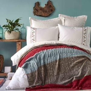 Постельное белье с пледом Karaca Home Lienzo bordo 2019-1 200×220