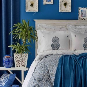 Постельное белье с пледом Karaca Home Paula indigo 2019-1 200x220 (sv-2000022194396) Синий фото