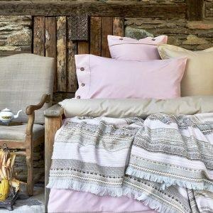 Постельное белье с пледом Karaca Home Woodley pembe 2018-1 200×220