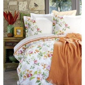 Постельное белье с покрывалом пике Karaca Home Paradise orange 2017-2 jacquard 200×220