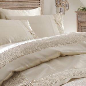 Постельное белье с покрывалом пике Karaca Home Tugce bej 2018-2 200×220