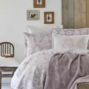 Постельное белье с покрывалом + плед Karaca Home Onofre lila 2019-1 200×220