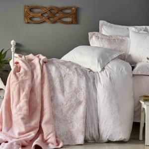 Постельное белье с покрывалом + плед Karaca Home Onofre pudra 2019-1 200×220