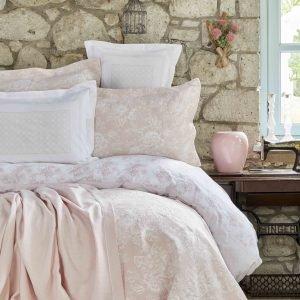 Постельное белье с покрывалом + плед Karaca Home Story New pudra 2018-2 200×220