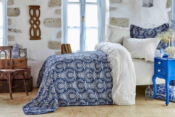 Постельное белье с покрывалом Karaca Home Elina beyaz 2018-2 200x220 (sv-2000022190121) Синий фото