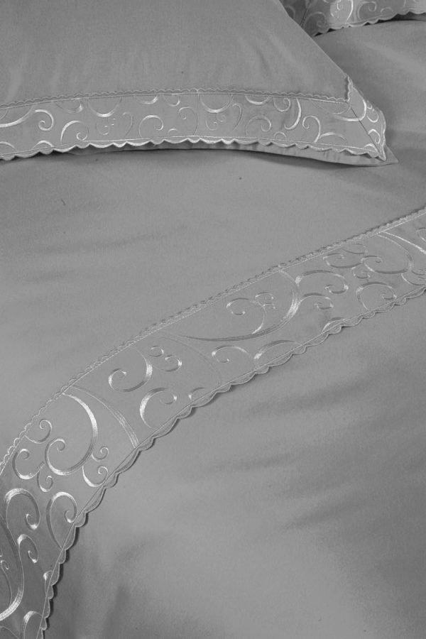 Постельное белье Begonville Lindau сатин 200x220 (sv-2000008467834) Серый фото
