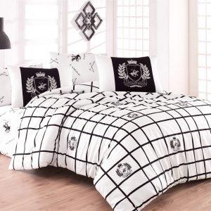Постельное белье Beverly Hills Polo Club ранфорс BHPC 028 Black  (sv-2000022198783-v) Белый|Черный фото