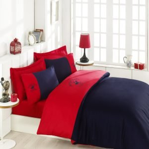 Постельное белье Beverly Hills Polo Club сатин BHPC 106 Red Dark Blue 200×220