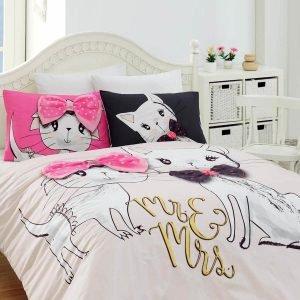 Постельное белье Charlot Home Pisy pembe ранфорс 200x220 (sv-2000022188074) Розовый фото