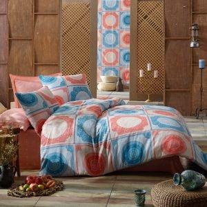 Постельное белье Eponj Home Ornament Mint Somon ранфорс 200x220 (sv-2000008480222) Красный|Голубой фото