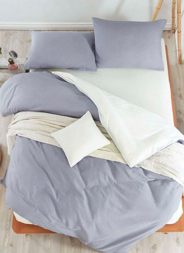 Постельное белье Eponj Home Paint Mix K.Gri-Krem ранфорс 200x220 (sv-2000022187954) Серый фото