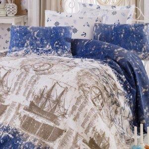 Постельное белье Eponj Home Pike Pusula k.mavi 200x235 (sv-2000008472500) Голубой фото