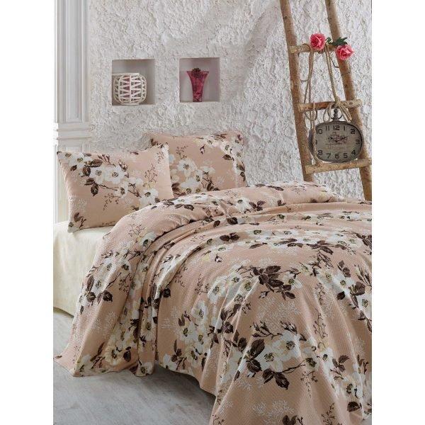 Постельное белье Eponj Home Pike Rita a.kahve 160x235 (sv-2000008473088) Бежевый|Кофейный фото