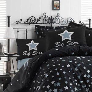 Постельное белье Eponj Home WhiteStar Siyah ранфорс 200×220