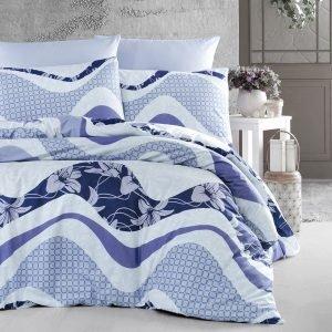 Постельное белье First Choice de luxe ранфорс wawe lacivert 200×220