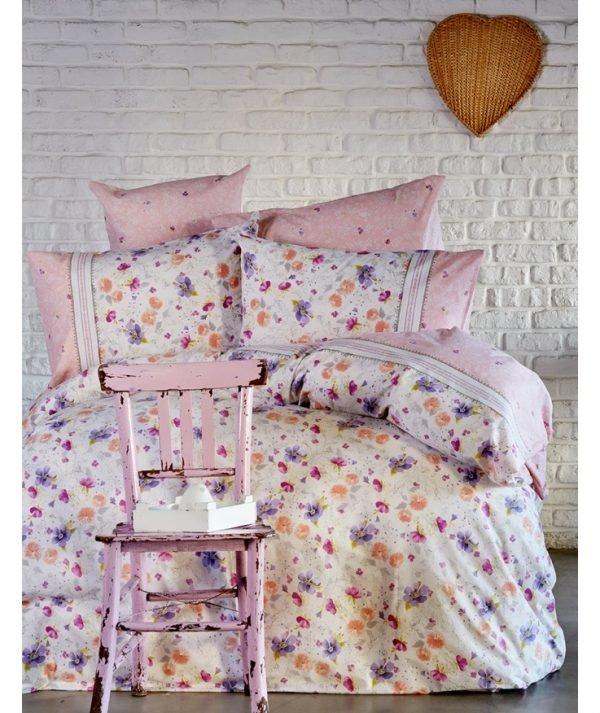 Постельное белье Karaca Home ранфорс Alvina 2017-1 200x220 (sv-8680214125700) Розовый фото