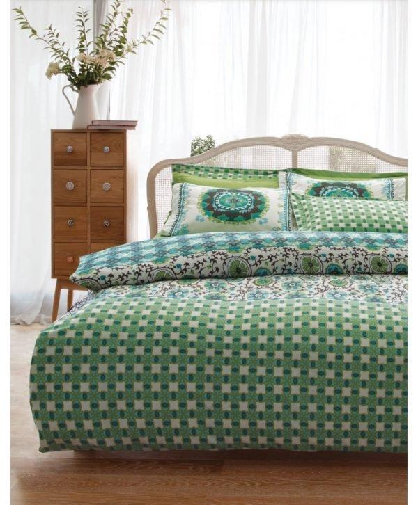 Постельное белье Karaca Home ранфорс Sita 160x220 (sv-8680214003909) Зеленый фото