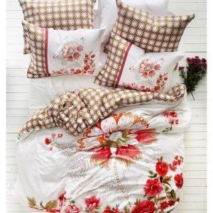 Постельное белье Karaca Home сатин Bocelly beige 200x220 (sv-8680214014042) Бежевый|Красный фото