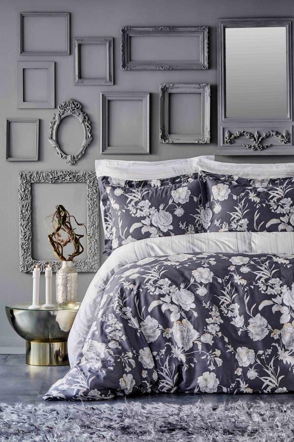 Постельное белье Karaca Home сатин Elvira antrasit 2019-1 200x220 (sv-2000022194532) Серый фото