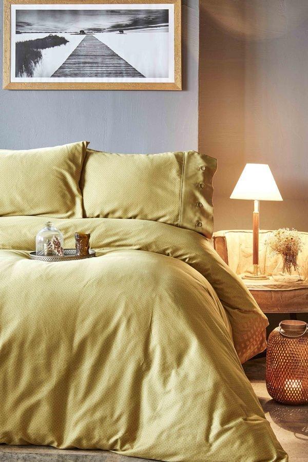 Постельное белье Karaca Home сатин Infinity hardal 2019-1 200x220 (sv-2000022194471) Бежевый|Коричневый фото